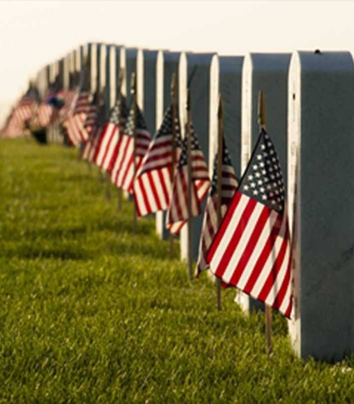Cemetary with american flags on each grave