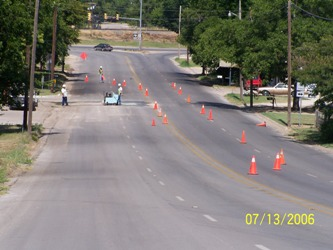 Construction zone on street