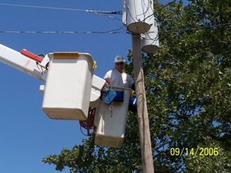 Man working on power line